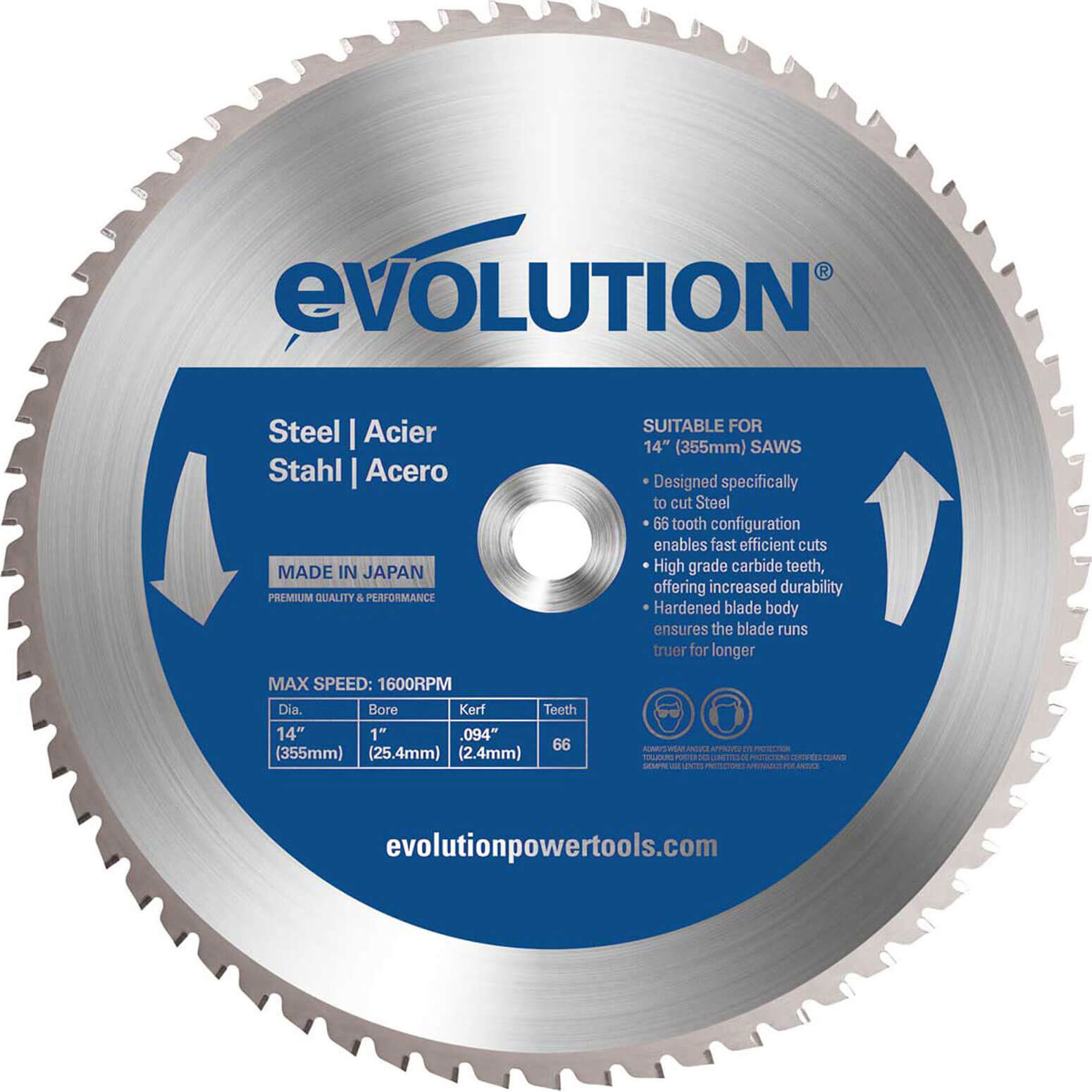 Image of Evolution Mild Steel Cutting Saw Blade 355mm 66T 25.4mm