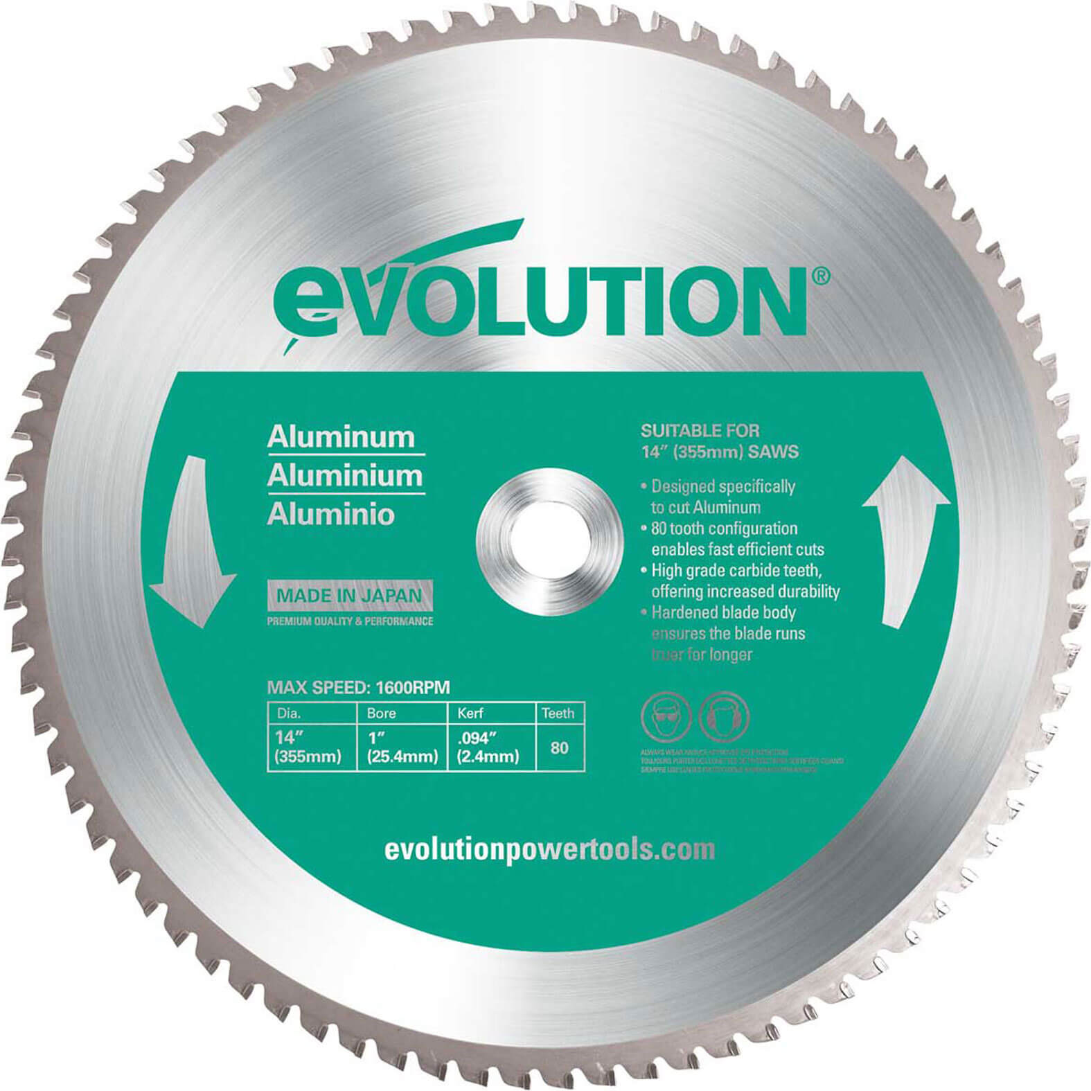 Image of Evolution Aluminium Cutting Saw Blade 355mm 80T 25.4mm