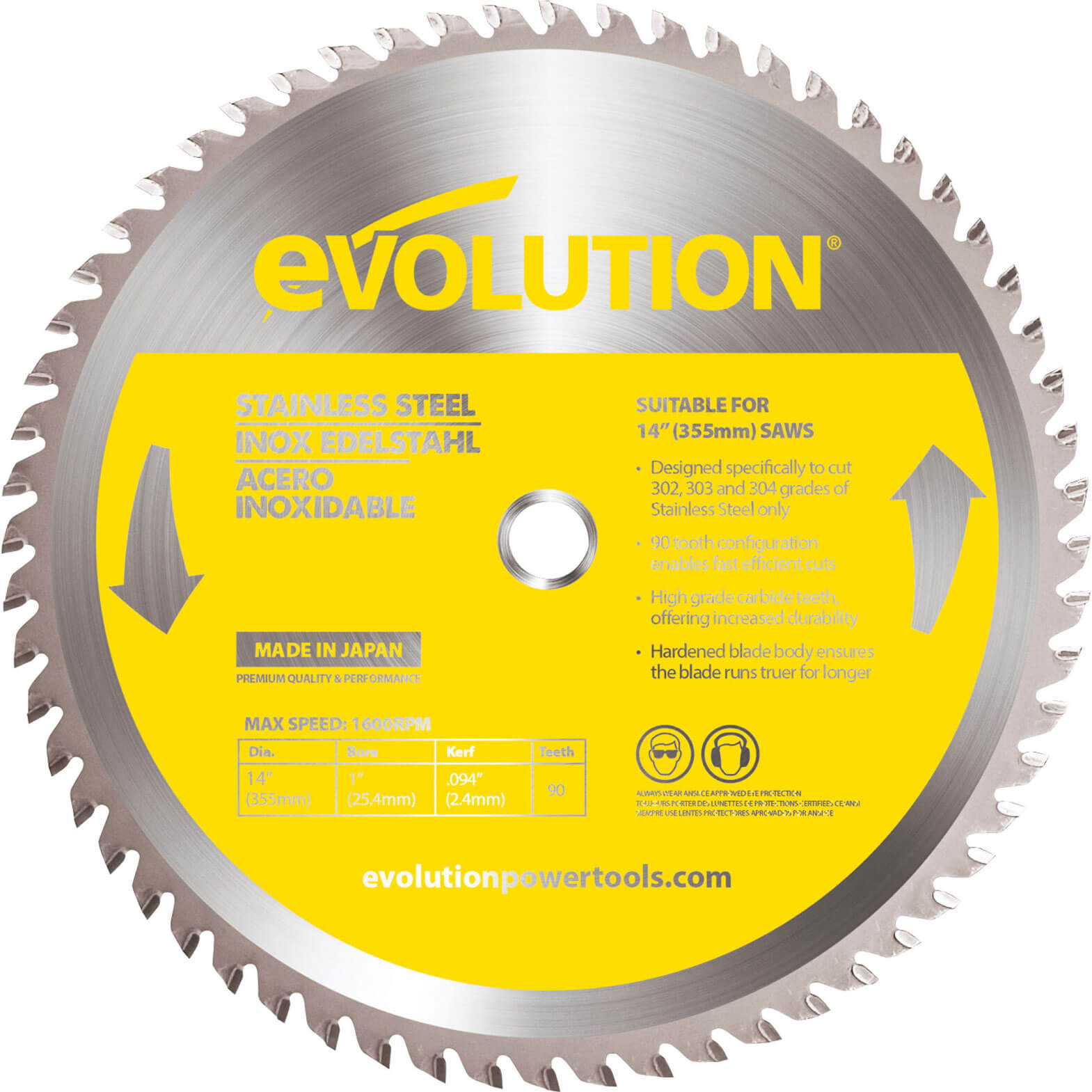 Image of Evolution Stainless Steel Cutting Saw Blade 355mm 90T 25.4mm