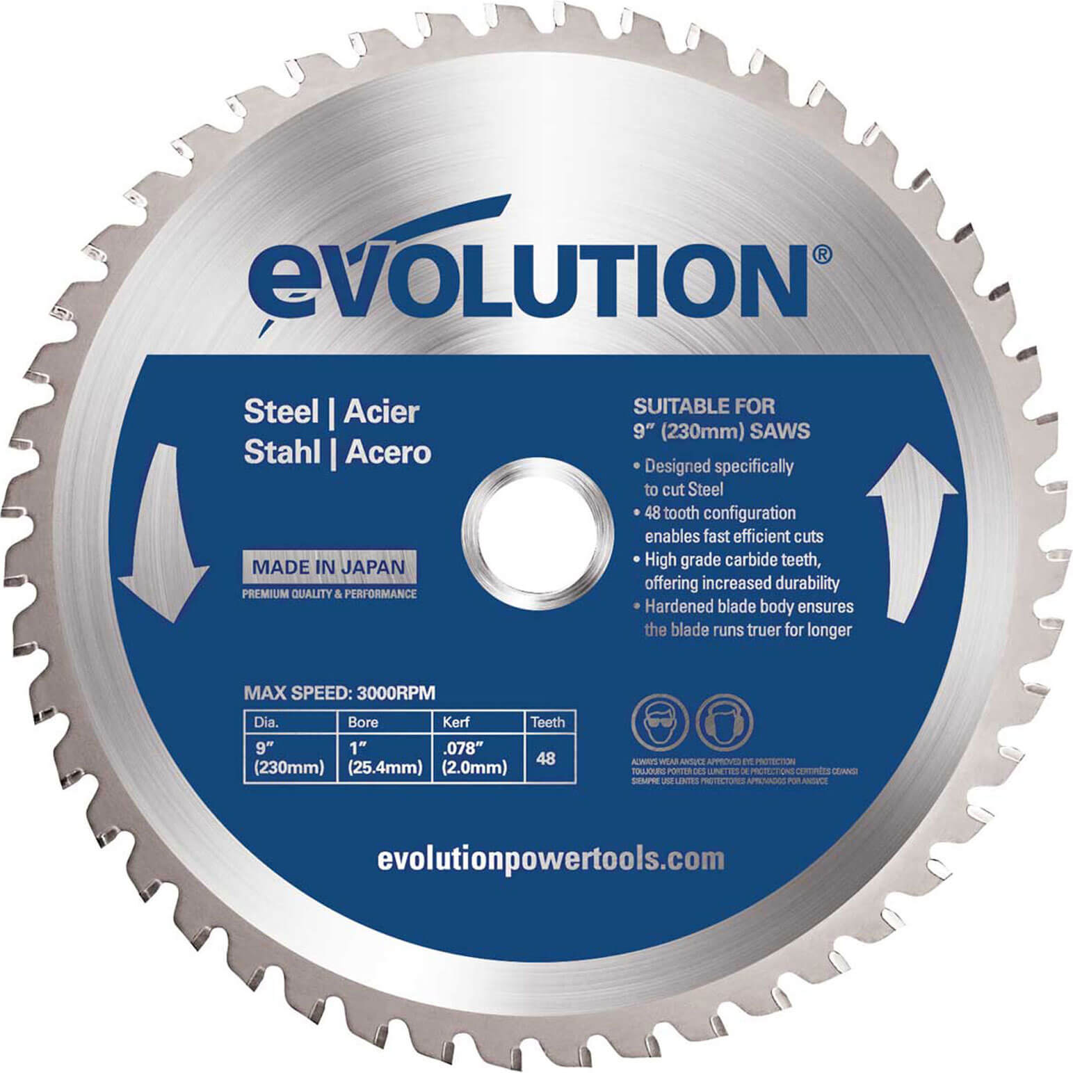 Image of Evolution Mild Steel Cutting Saw Blade 230mm 48T 25.4mm