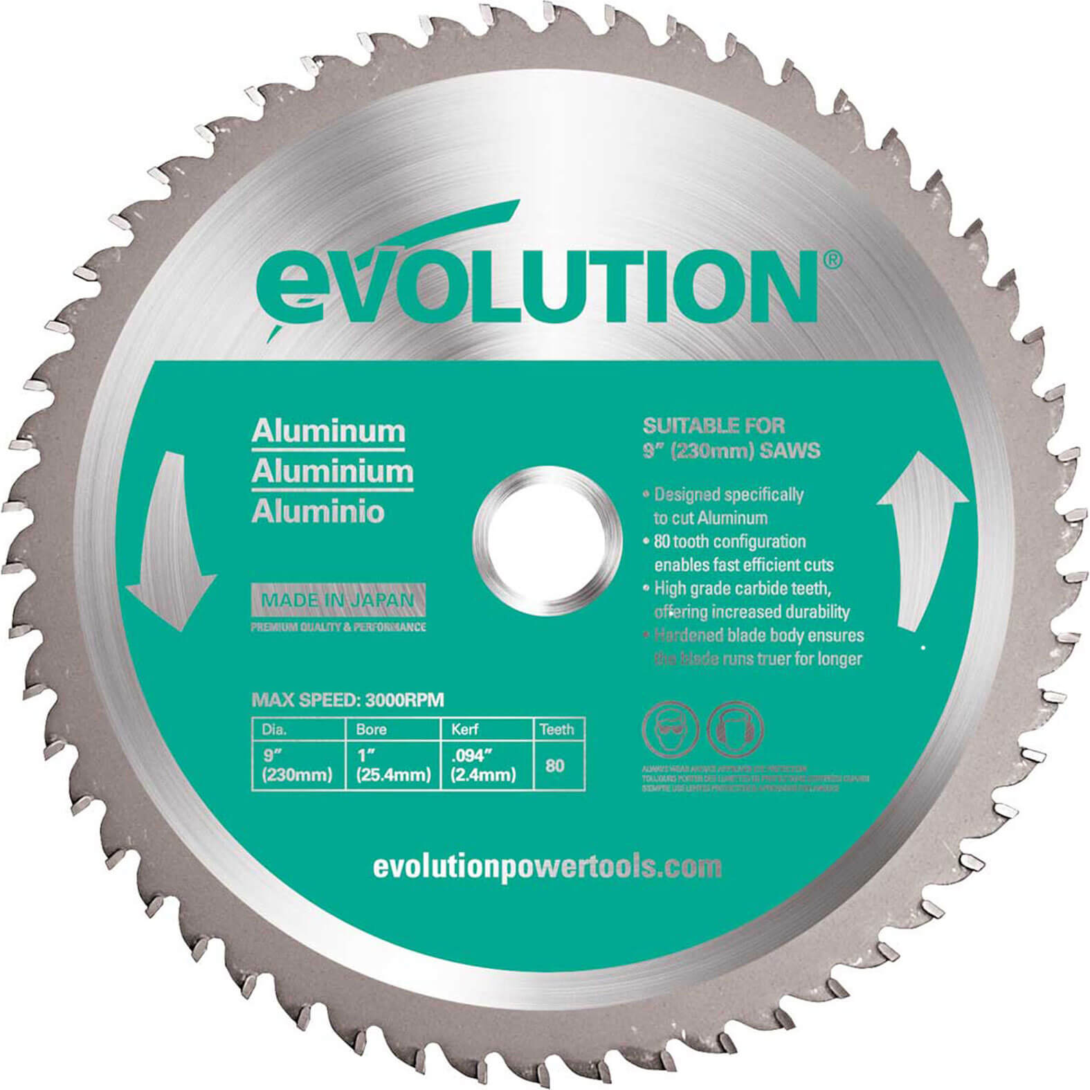 Image of Evolution Aluminium Cutting Saw Blade 230mm 80T 25.4mm