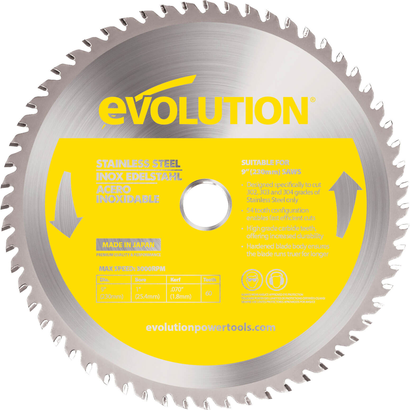 Image of Evolution Stainless Steel Cutting Saw Blade 230mm 60T 25.4mm