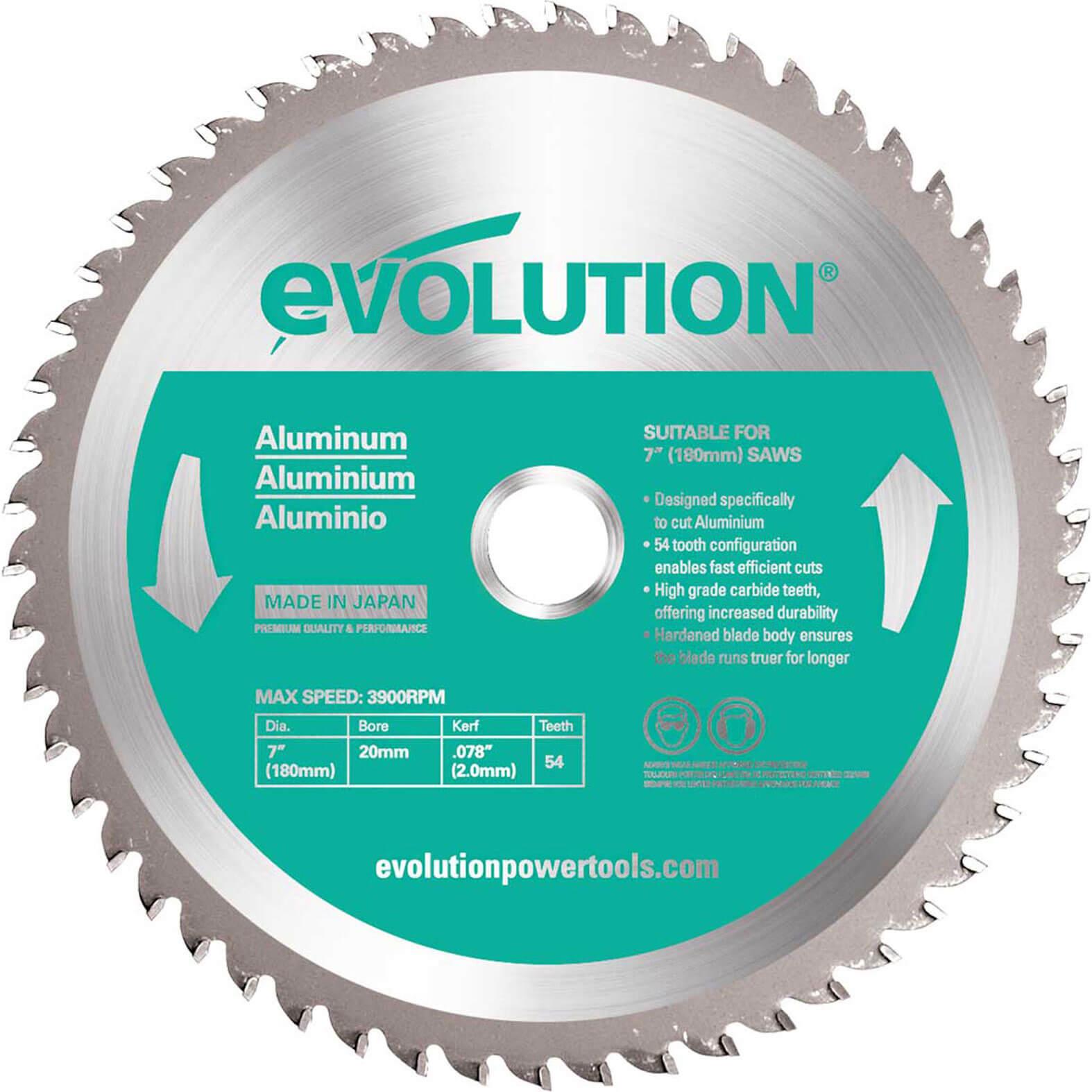 Image of Evolution Aluminium Cutting Saw Blade 180mm 54T 20mm