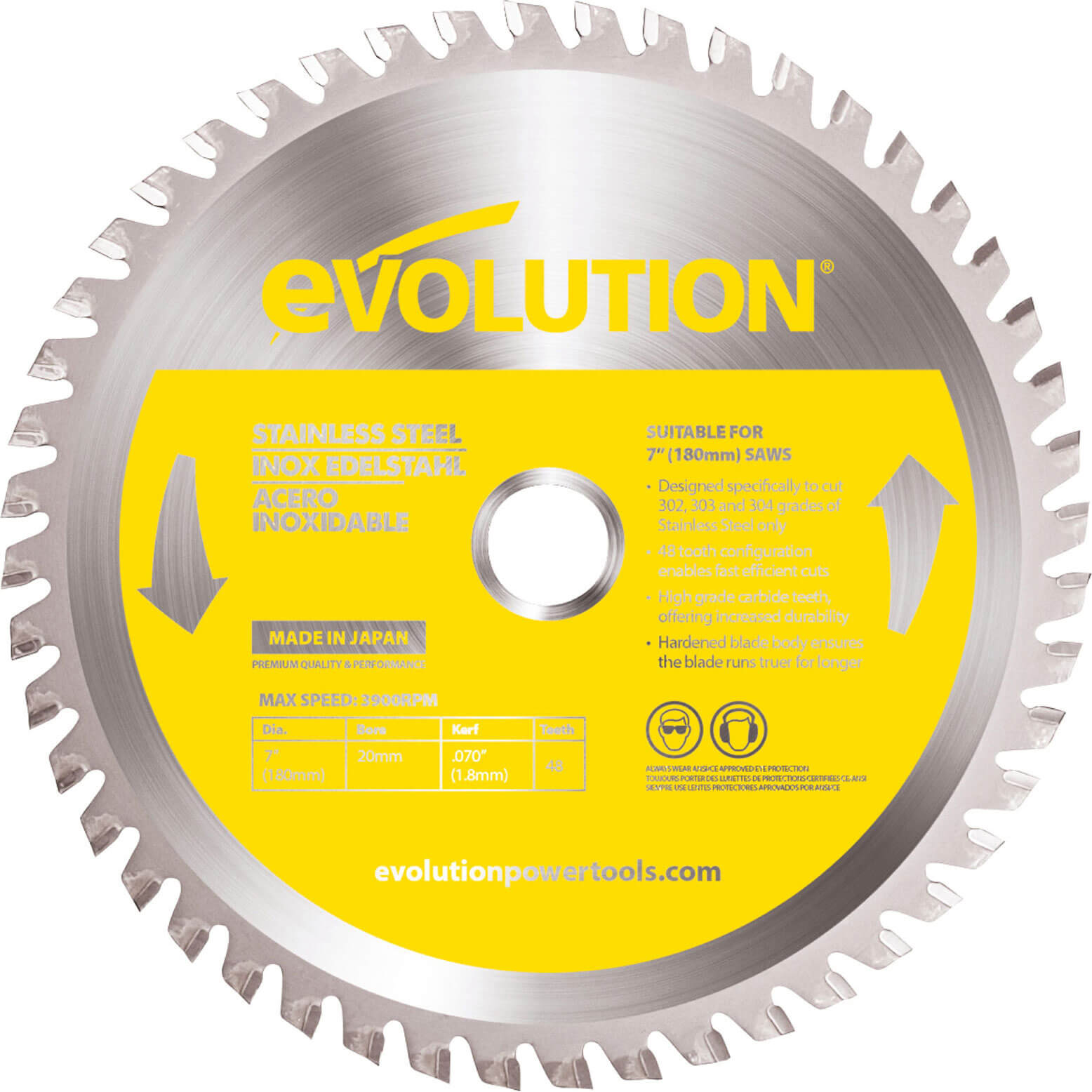 Image of Evolution Stainless Steel Cutting Saw Blade 180mm 48T 20mm