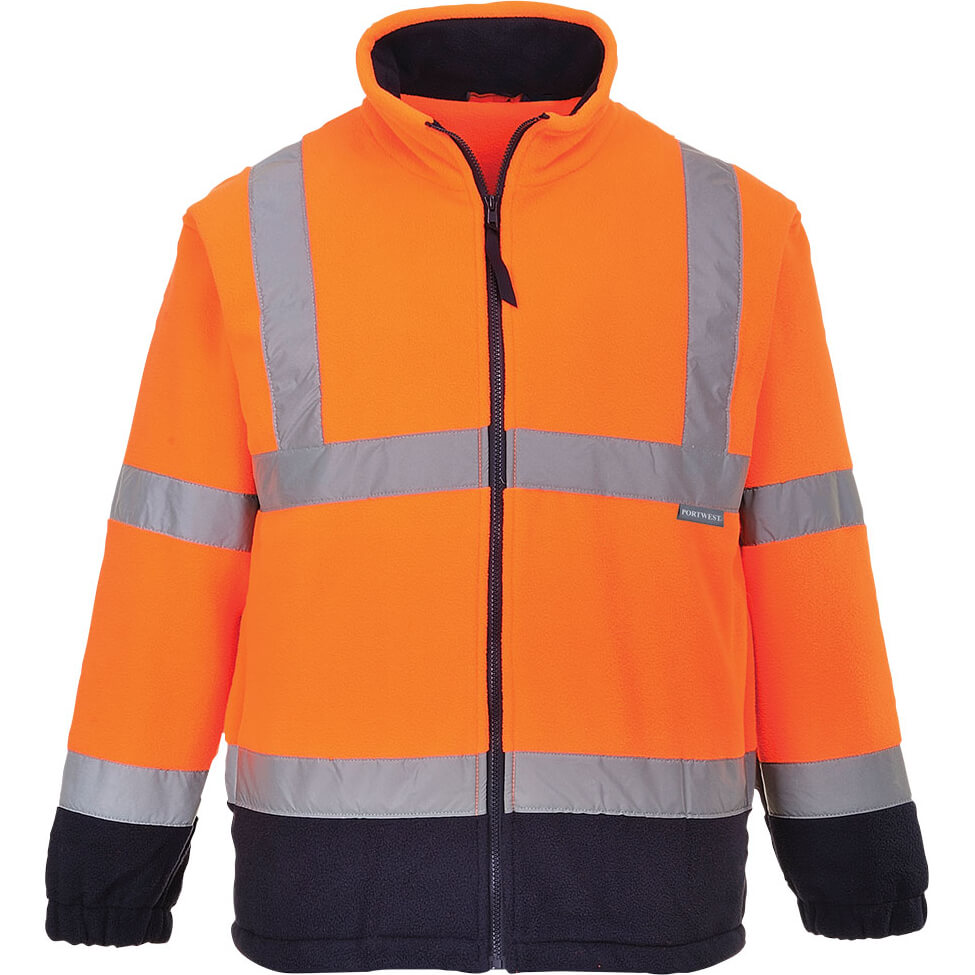 Image of Portwest 2 Tone Hi Vis Fleece Jacket Orange / Navy 2XL