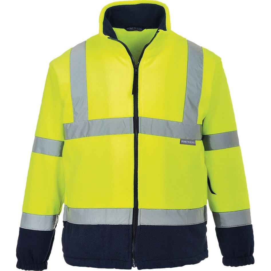 Image of Portwest 2 Tone Hi Vis Fleece Jacket Yellow / Navy 2XL