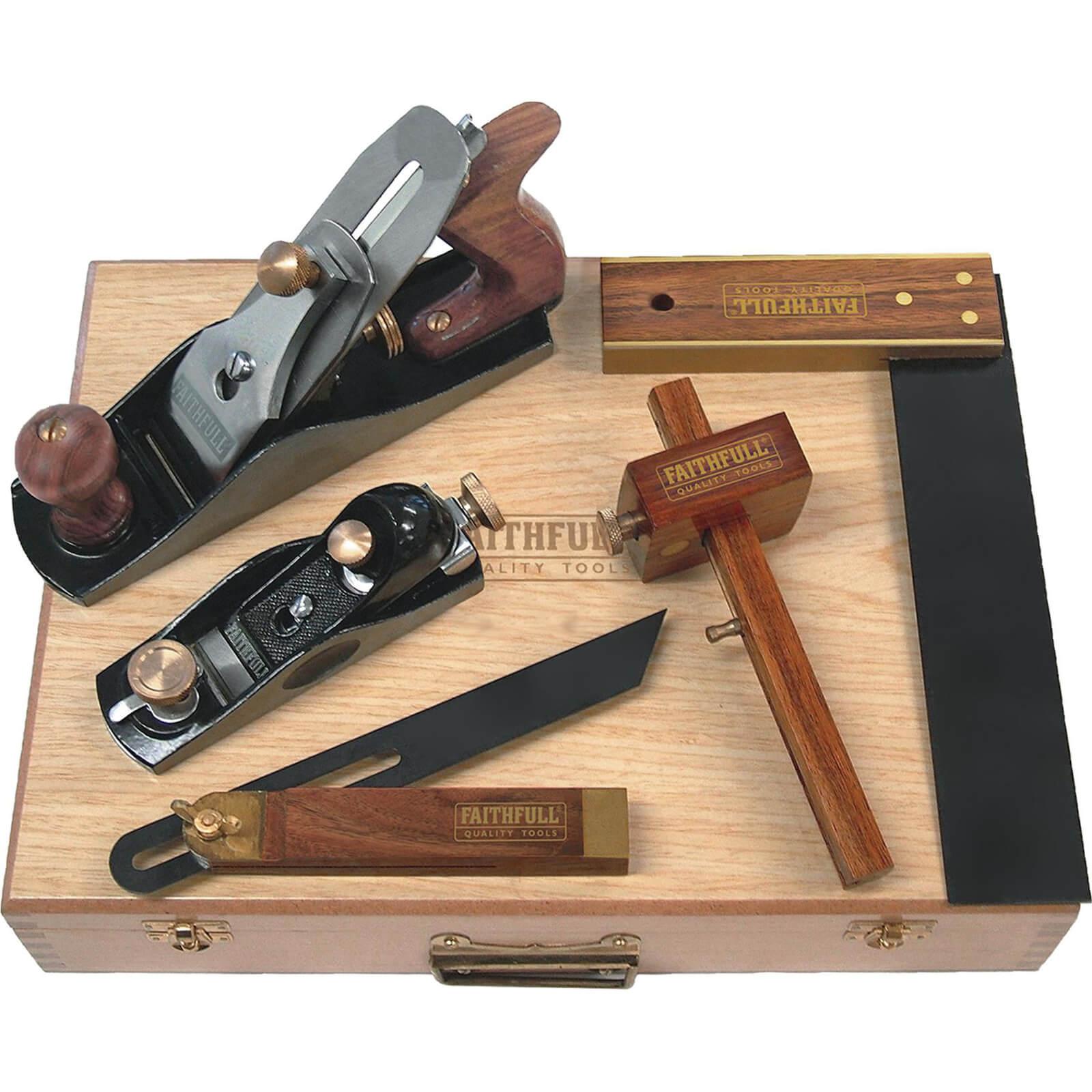Image of Faithfull 5 Piece Carpenters Woodworking Tool Kit