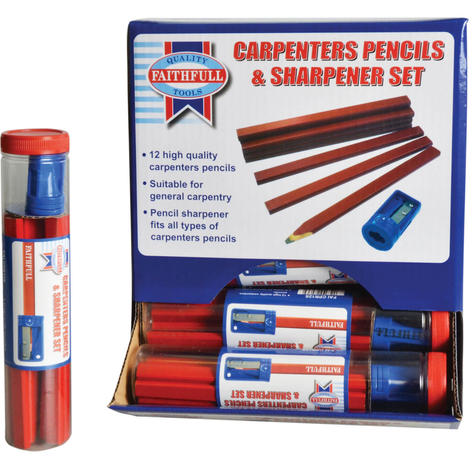 Image of Faithfull Carpenters Pencils & Sharpener Pack of 12