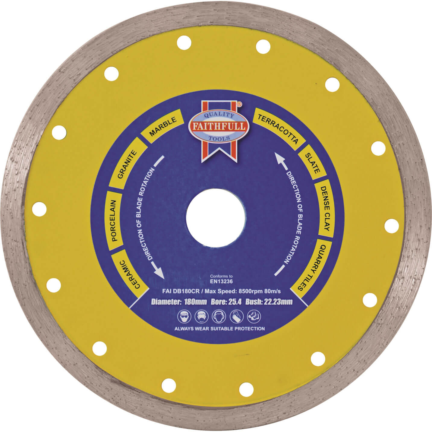 Image of Faithfull Tile Cutting Continuous Rim Diamond Blade 105mm