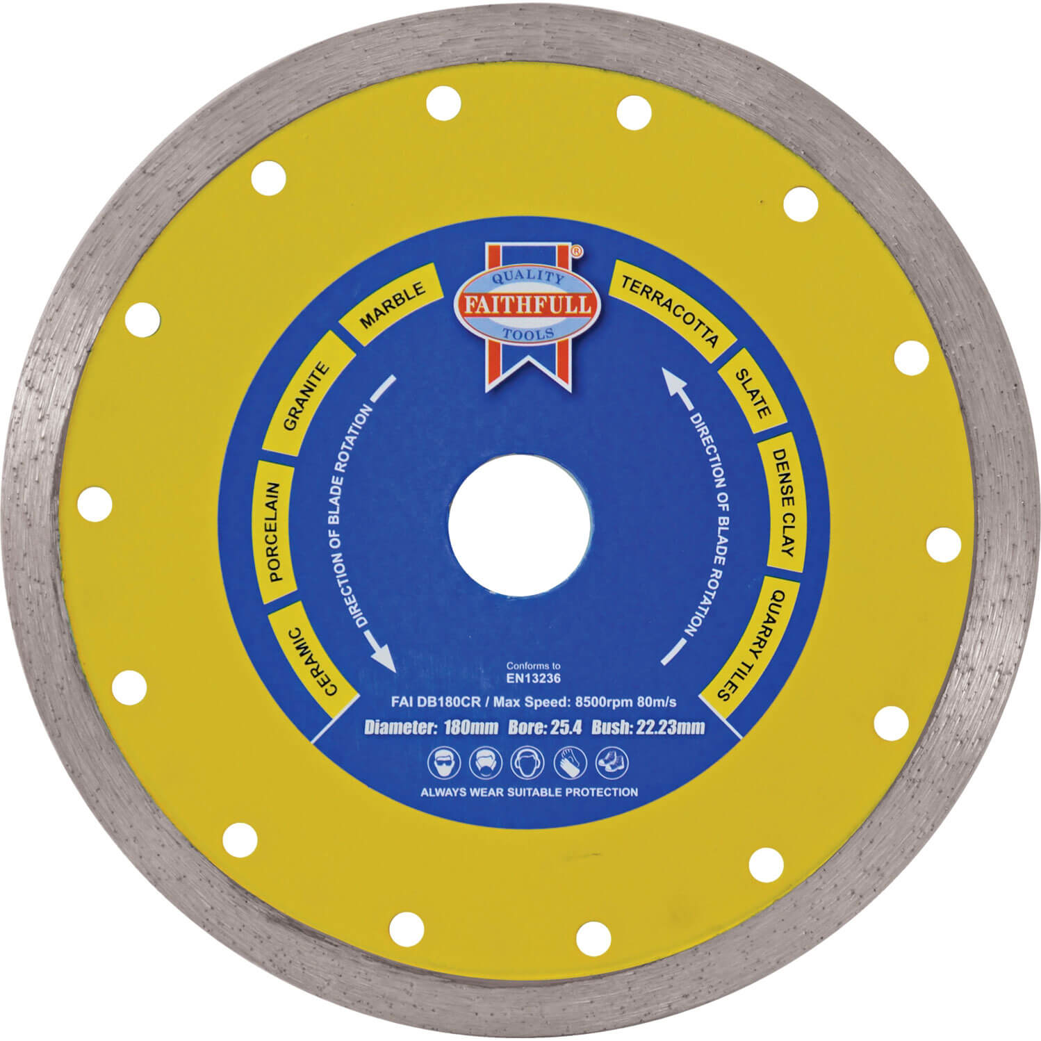 Image of Faithfull Tile Cutting Continuous Rim Diamond Blade 115mm