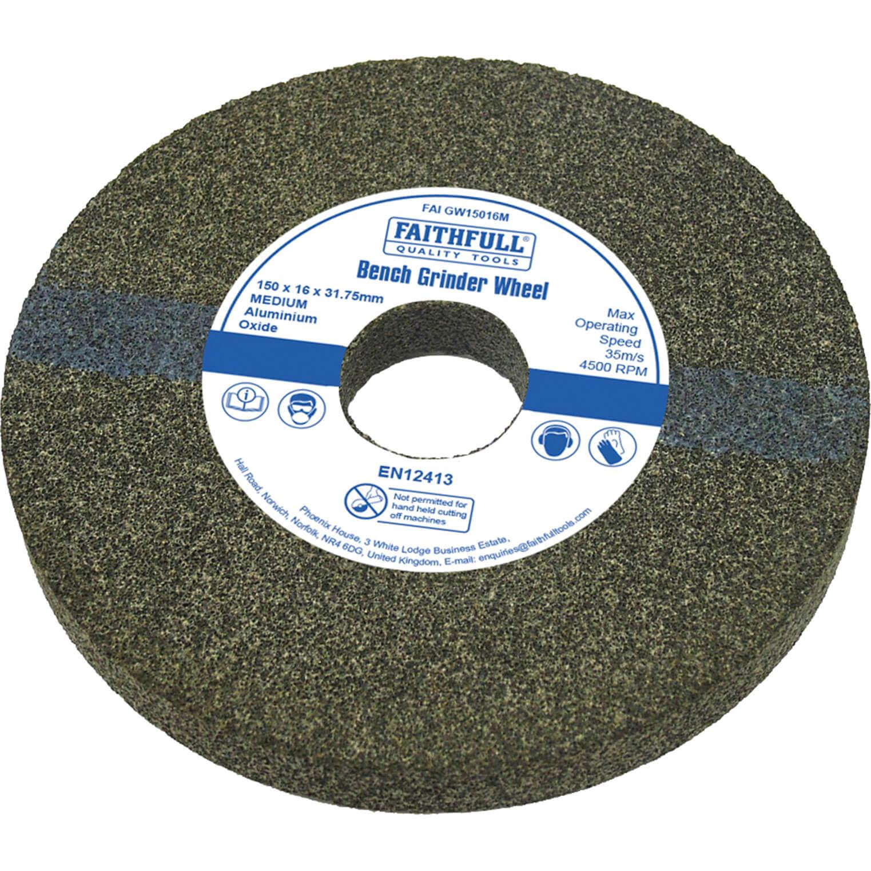 Image of Faithfull Aluminium Oxide Grinding Wheel 150mm 16mm Medium