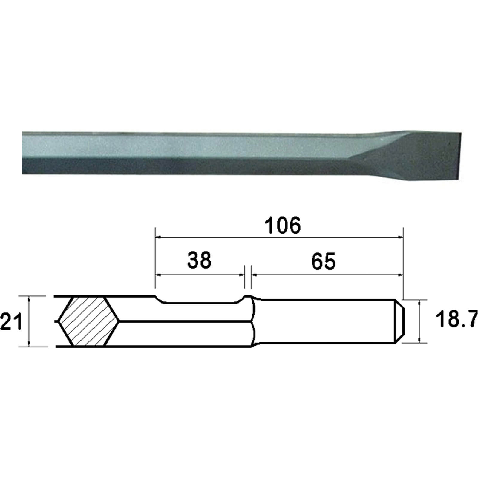 Image of Faithfull Kango Shank Chisel 380mm