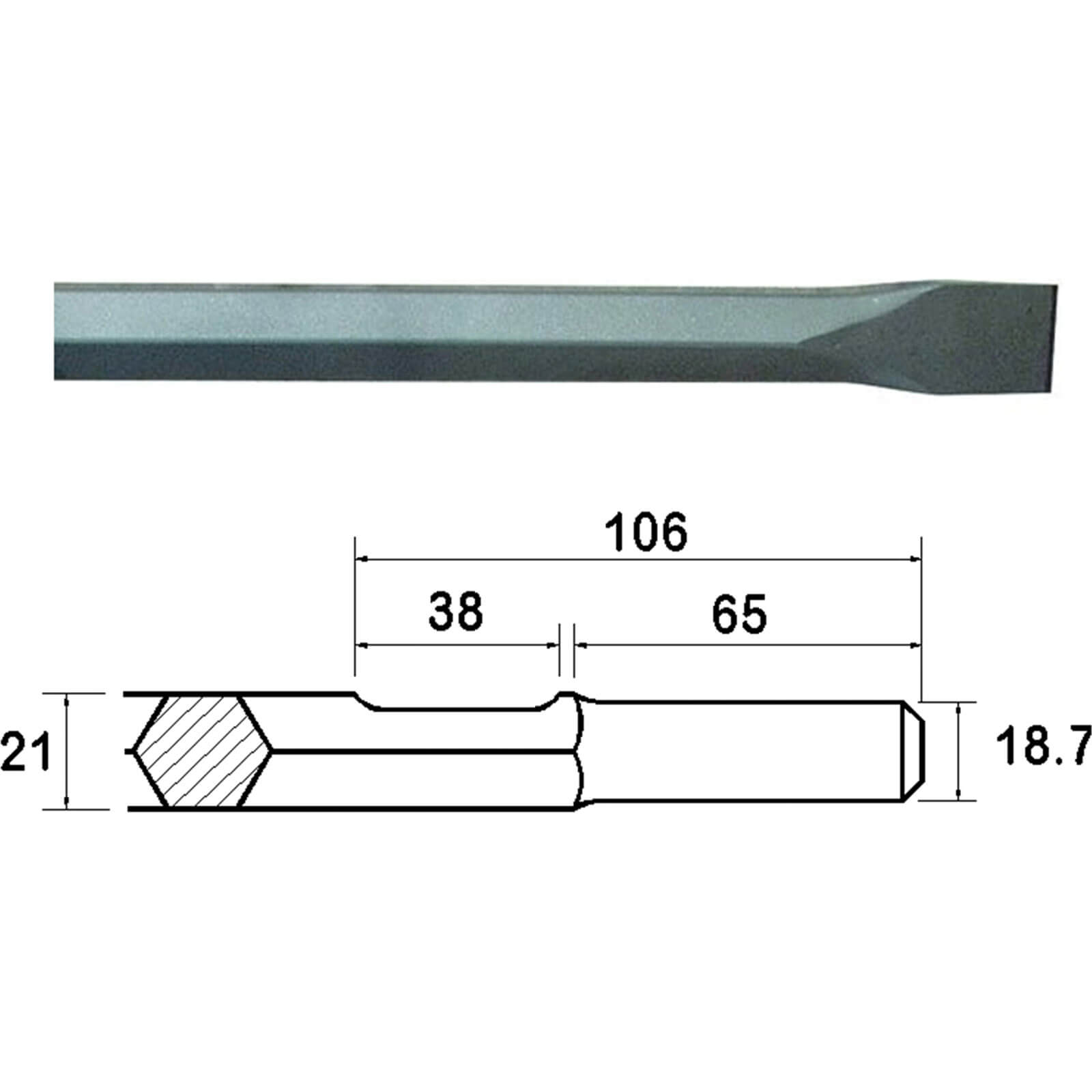 Image of Faithfull Kango Shank Chisel 450mm