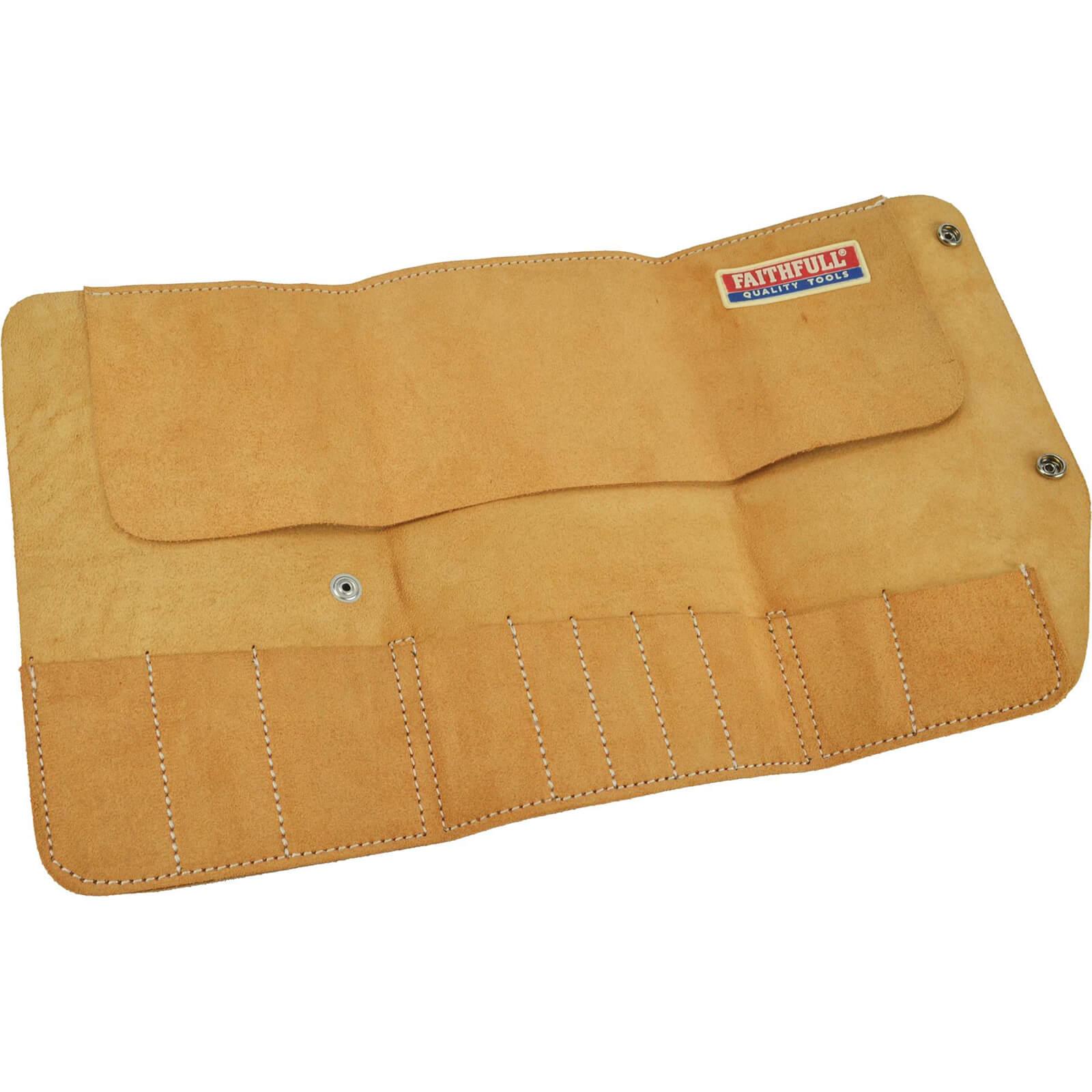 Image of Faithfull 10 Pocket Leather Tool Roll