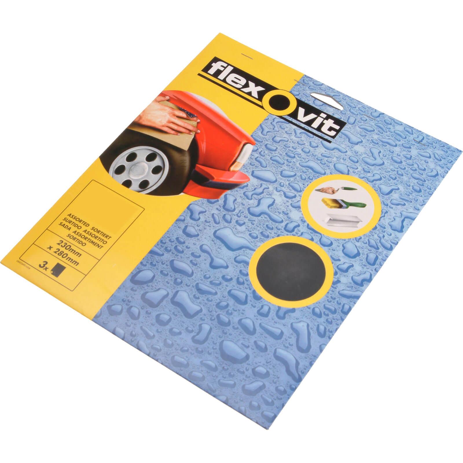 Flexovit Waterproof Sandpaper Coarse Pack of 3