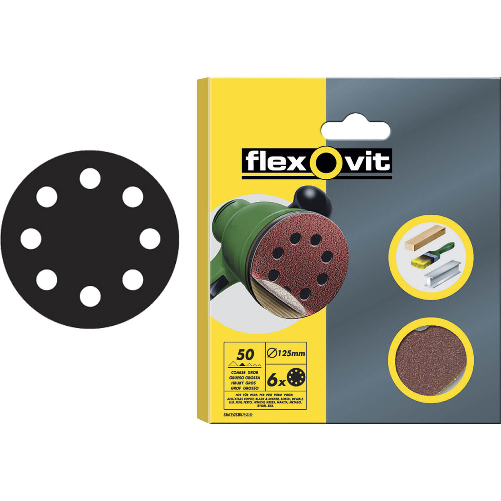 Image of Flexovit 125mm Hook & Loop Sanding Discs 125mm 120g Pack of 15