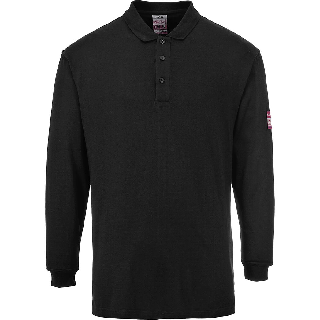 Image of Modaflame Flame Resistant Antistatic Long Sleeve Polo Shirt Black L