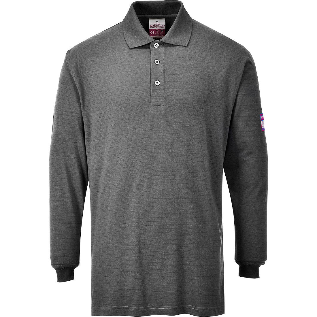 Image of Modaflame Mens Flame Resistant Antistatic Long Sleeve Polo Shirt Grey 3XL