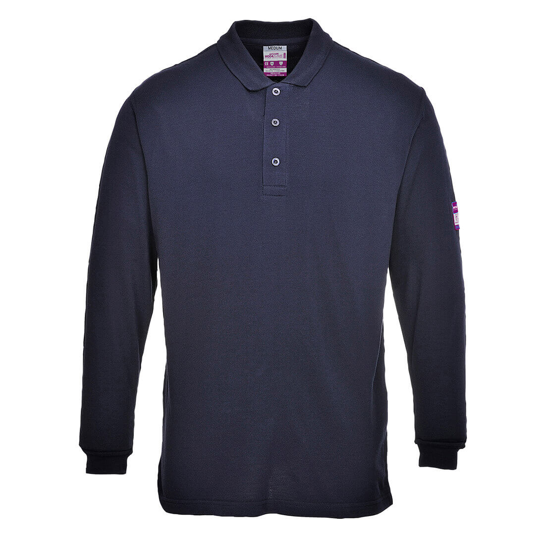 Image of Modaflame Mens Flame Resistant Antistatic Long Sleeve Polo Shirt Navy M