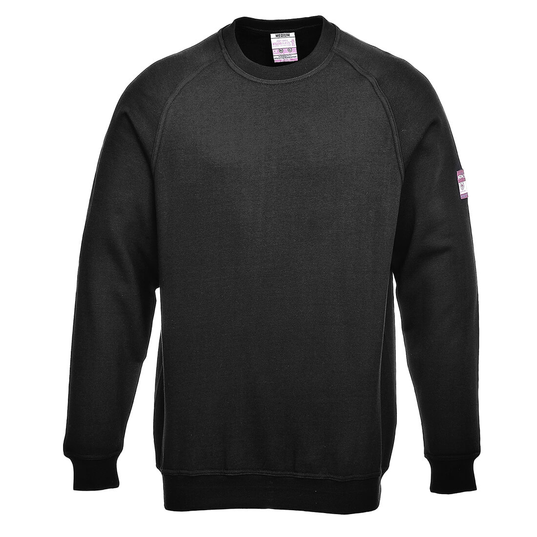 Image of Modaflame Mens Flame Resistant Antistatic Long Sleeve Sweatshirt Black 2XL