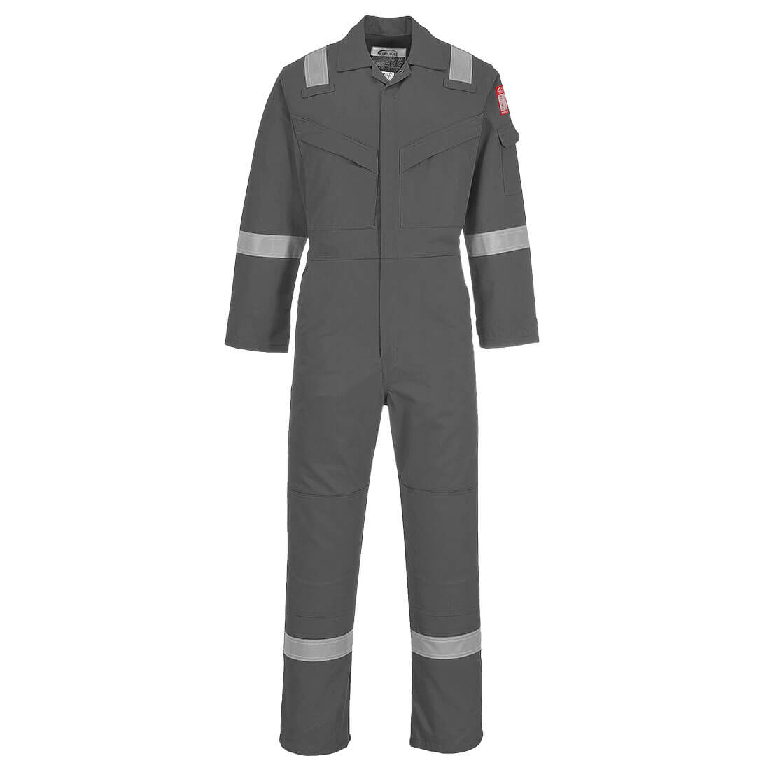 Image of Biz Flame Aberdeen Flame Resistant Antistatic Coverall Grey Extra Small 32""
