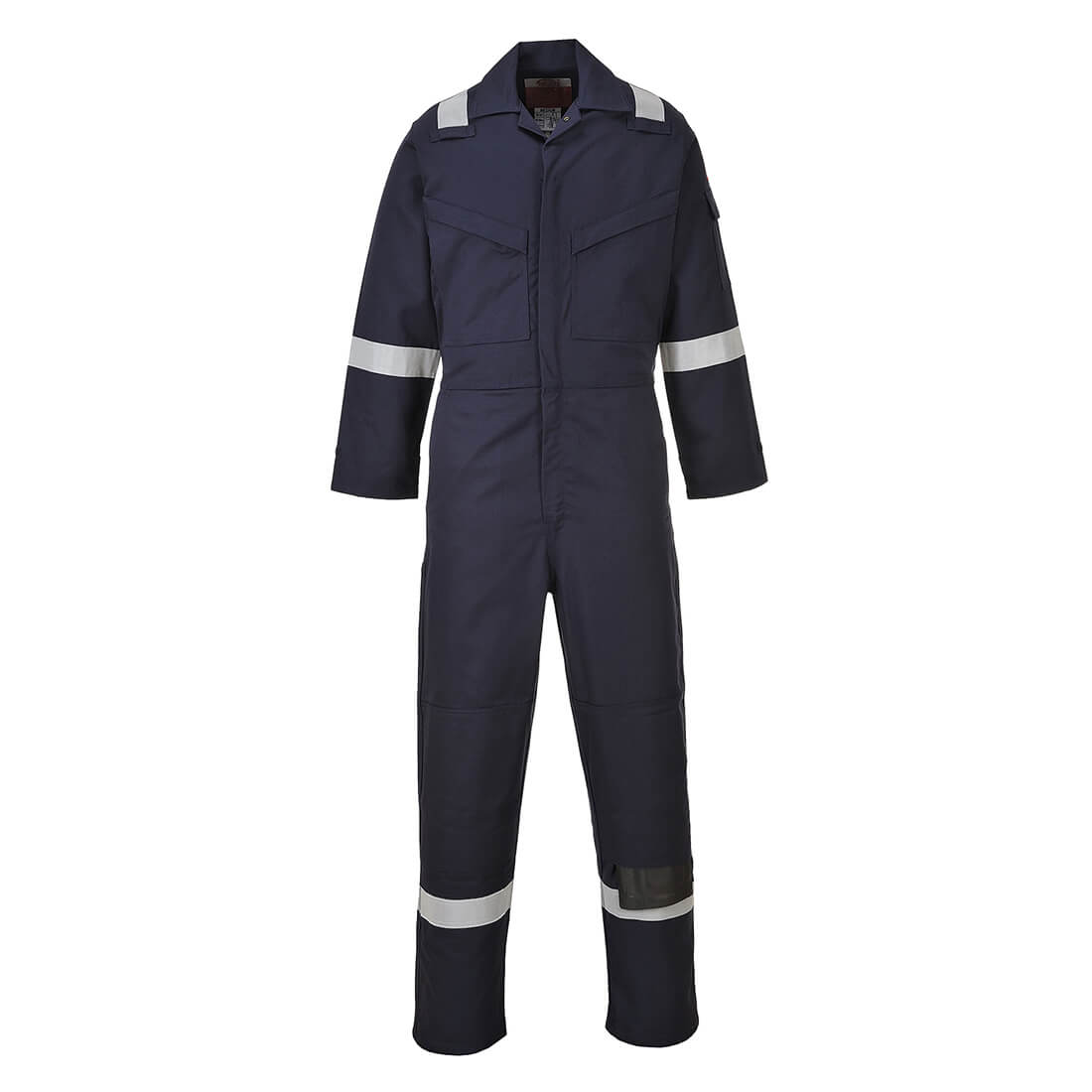 Image of Biz Flame Aberdeen Flame Resistant Antistatic Coverall Navy Blue 2XL 32""