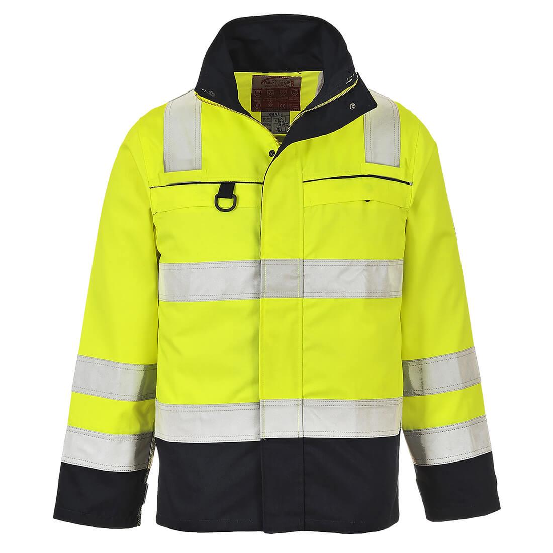 Image of Biz Flame Flame Resistant Hi Vis Multi Norm Jacket Yellow / Navy L