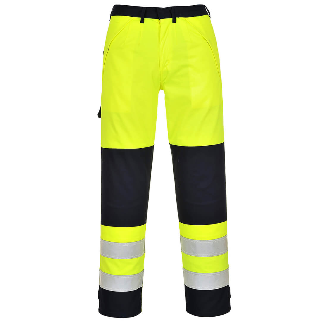 Image of Biz Flame Hi-Vis Multi-Norm Flame Resistant Trousers Yellow / Navy 2XL