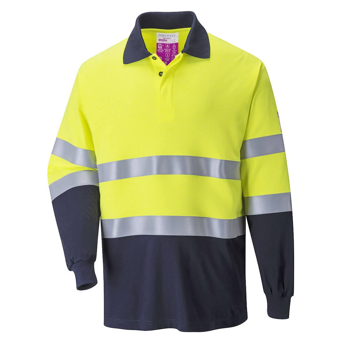 Image of Modaflame Mens Flame Resistant Hi Vis 2-Tone Polo Shirt Yellow / Navy 2XL