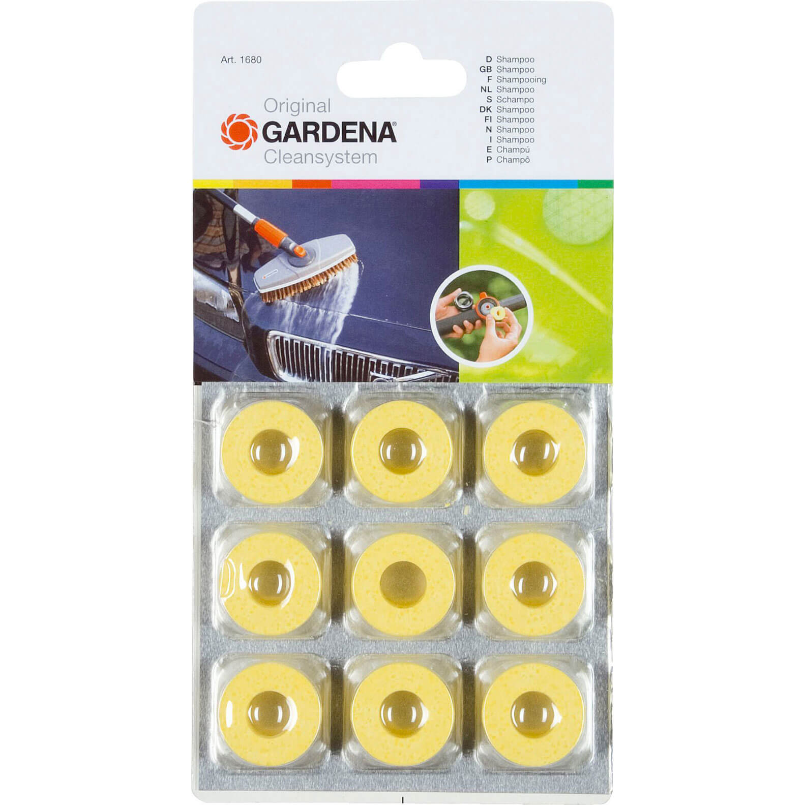 Image of Gardena Shampoo Blocks for Paint & Plastic Surfaces Pack of 9