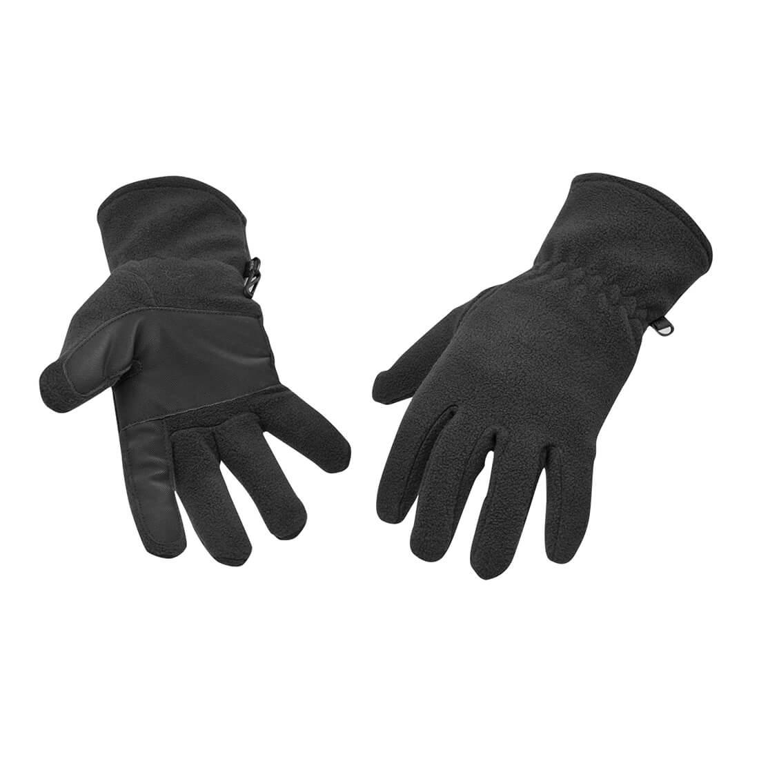 Image of Portwest Fleece Gripper Gloves Black One Size