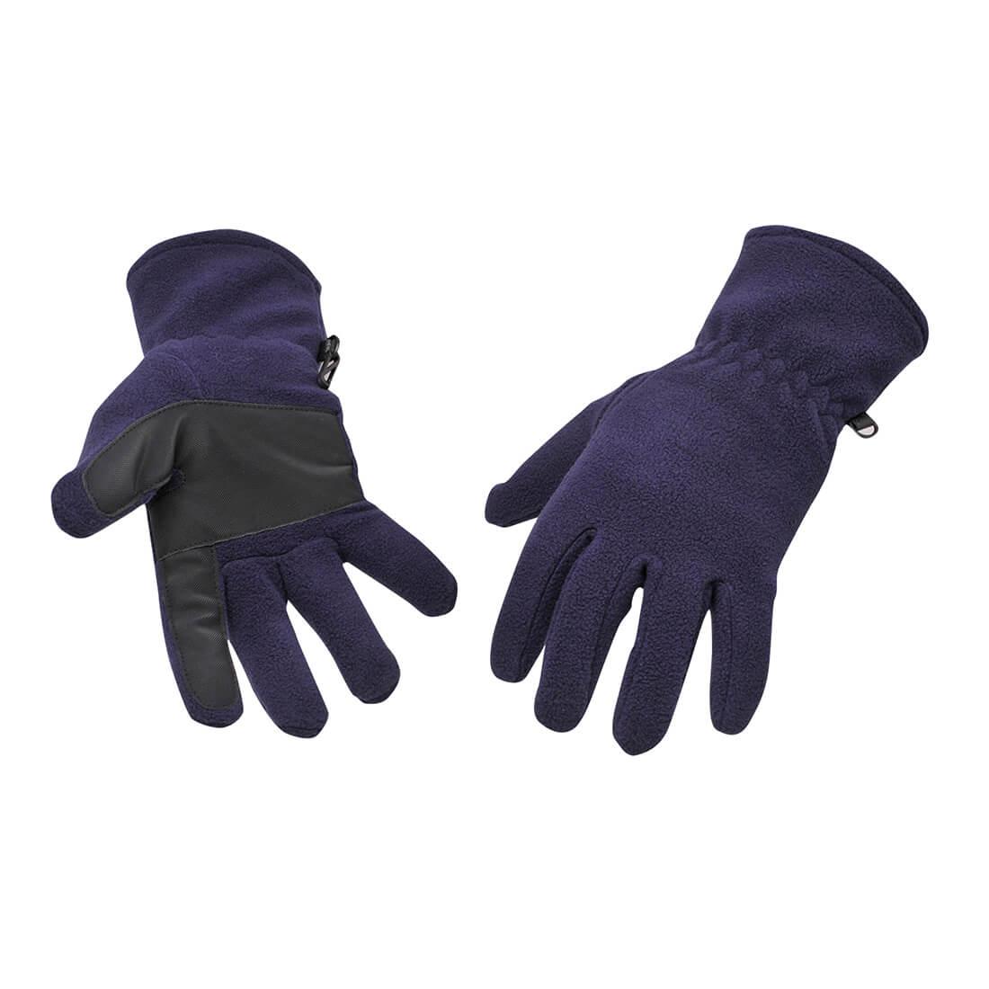 Image of Portwest Fleece Gripper Gloves Navy One Size