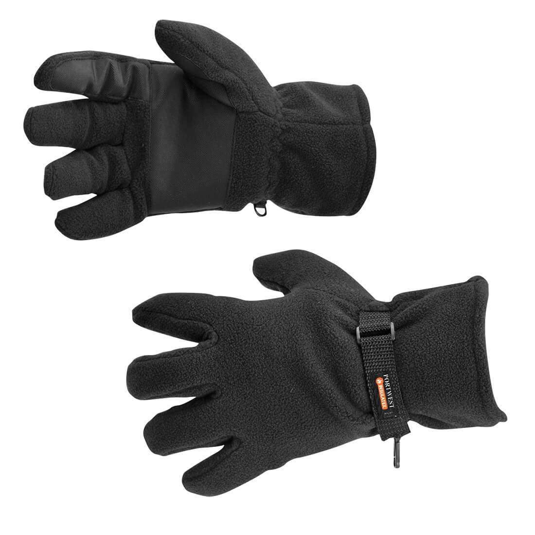 Image of Portwest Insulatex Lined Fleece Gripper Gloves Black One Size