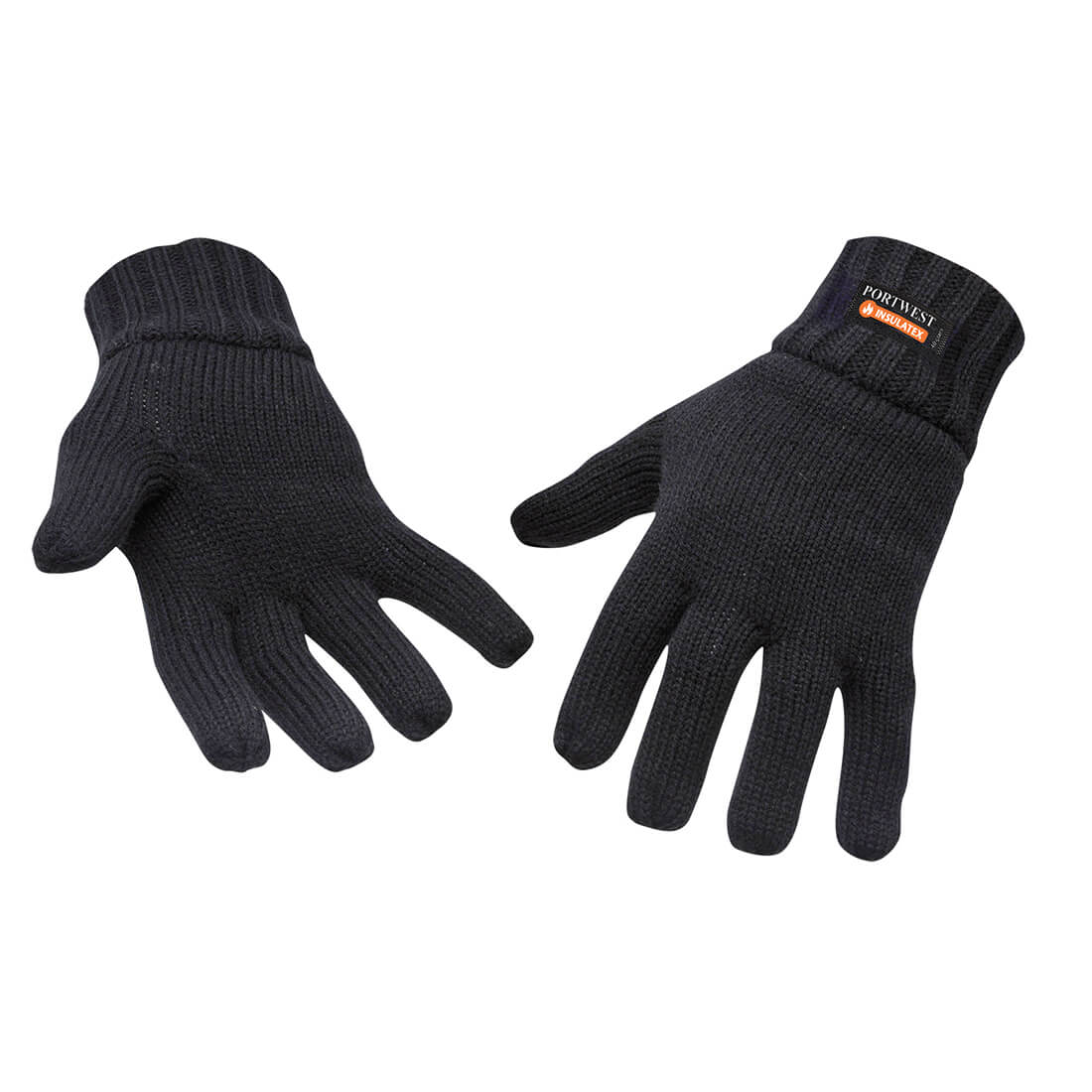Image of Portwest Insulatex Lined Knit Gloves Black One Size