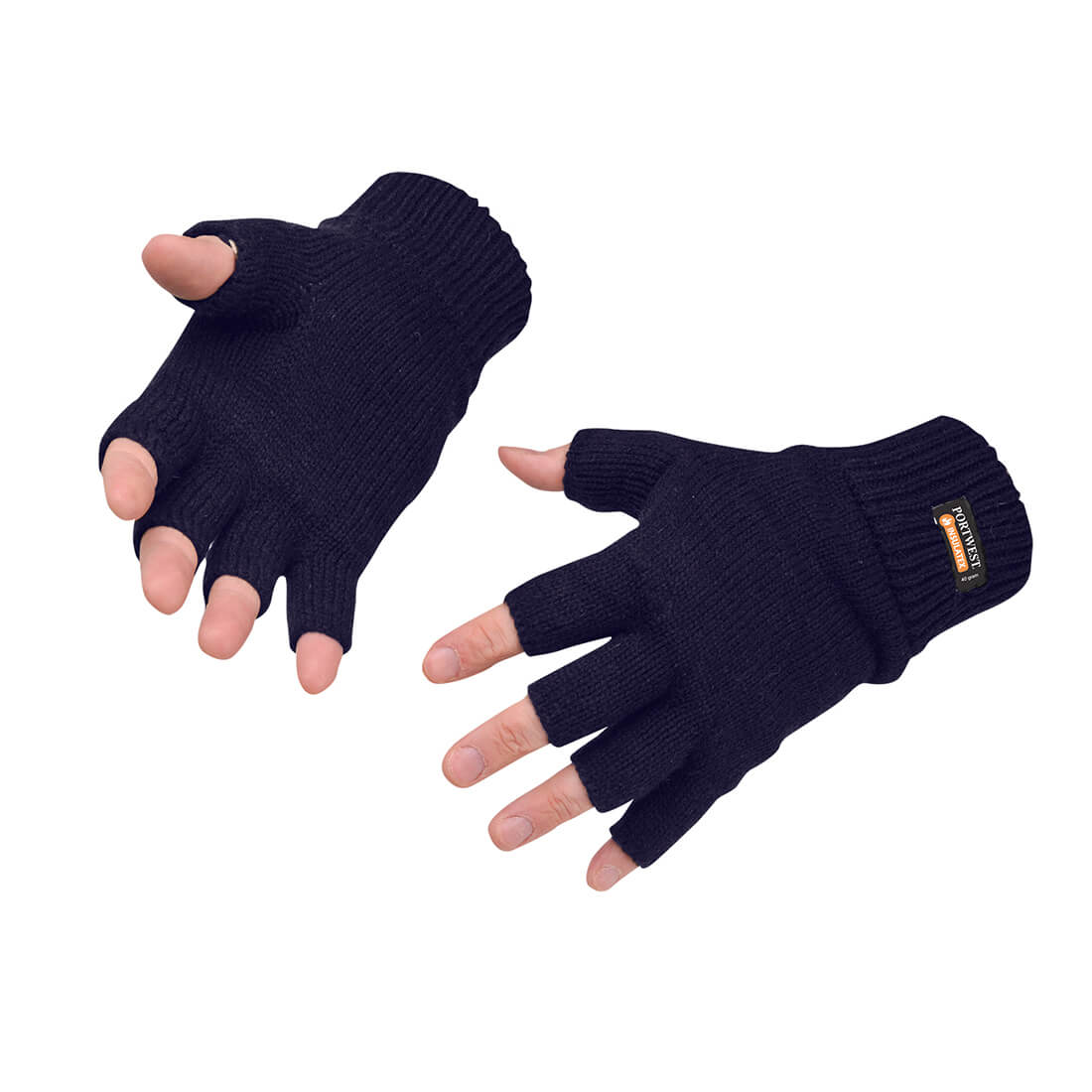 Image of Portwest Fingerless Insulatex Lined Knit Gloves Navy One Size
