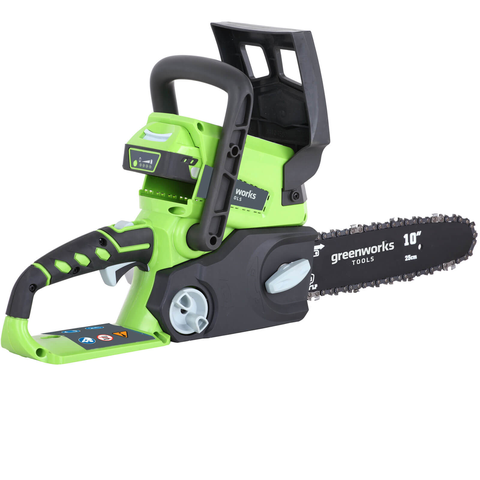 Image of Greenworks G24CS 24v Cordless Chainsaw 250mm 1 x 2ah Li-ion Charger