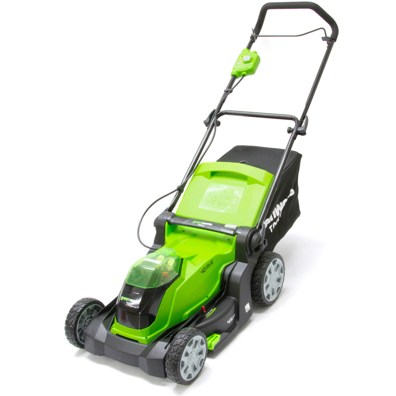 Image of Greenworks G40LM41 40v Cordless Rotary Lawnmower 400mm 2 x 2ah Li-ion Charger