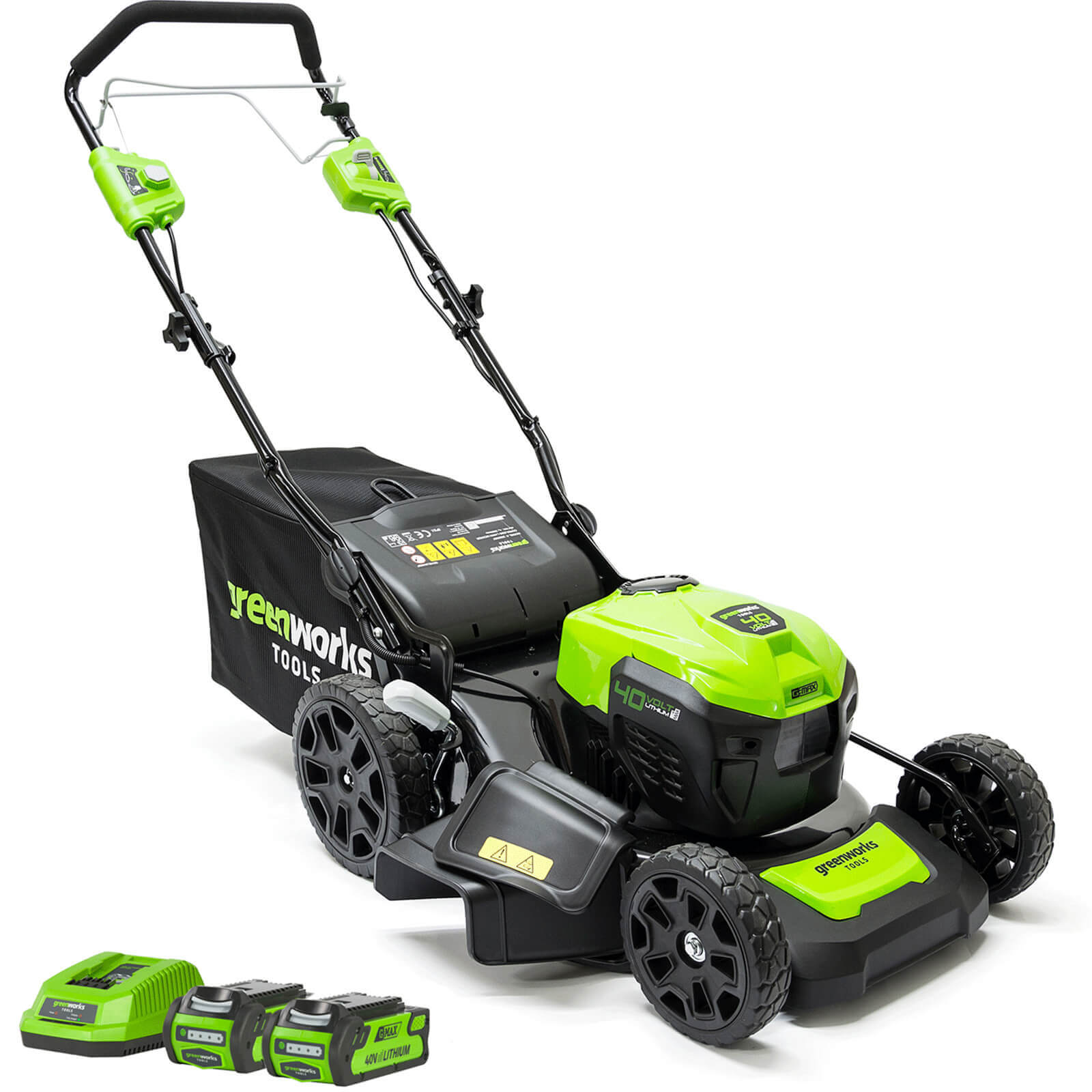 Image of Greenworks GD40LM46SP 40v Cordless Self Propelled Lawnmower 460mm 2 x 2ah Li-ion Charger