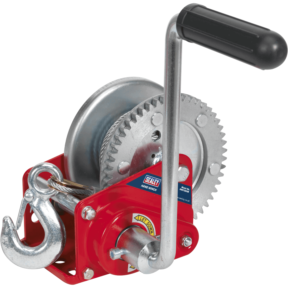 Sealey Hardened Steel Geared Hand Winch with Automatic Brake and Cable 540Kg