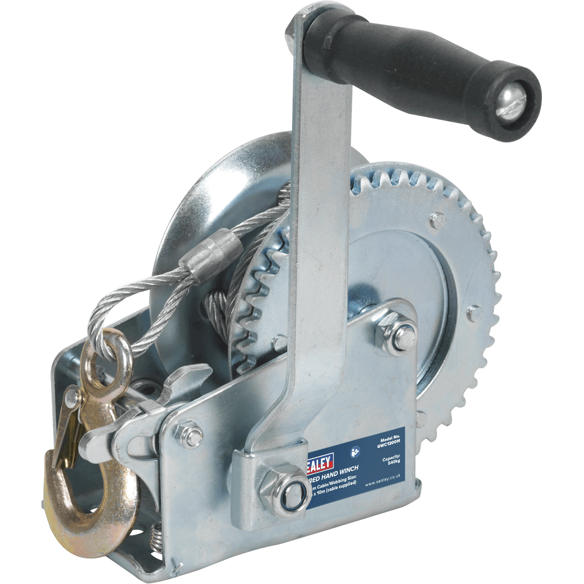Sealey Hardened Steel Geared Hand Winch with Cable 540Kg