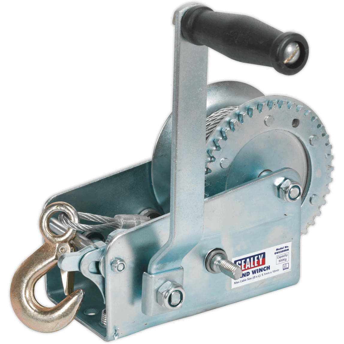Sealey Hardened Steel Geared Hand Winch with Cable 900Kg