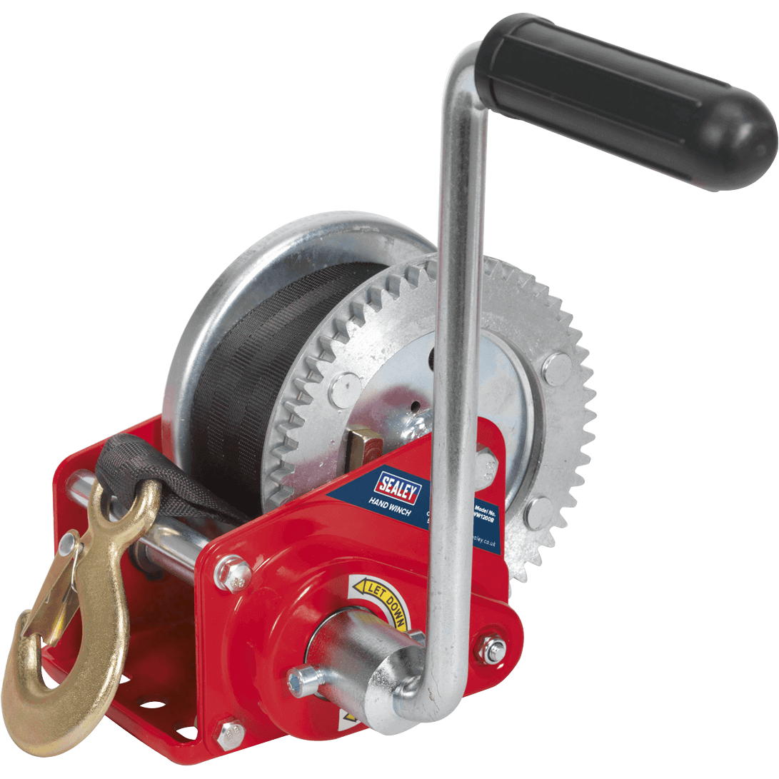 Sealey Hardened Steel Geared Hand Winch with Automatic Brake and Webbing 540Kg