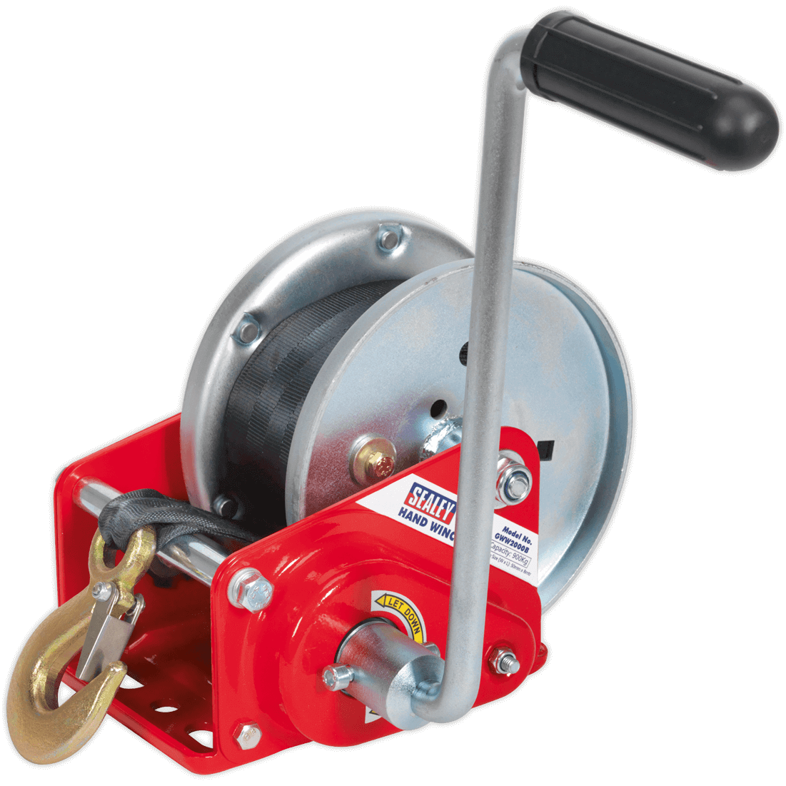 Sealey Hardened Steel Geared Hand Winch with Automatic Brake and Webbing 900Kg