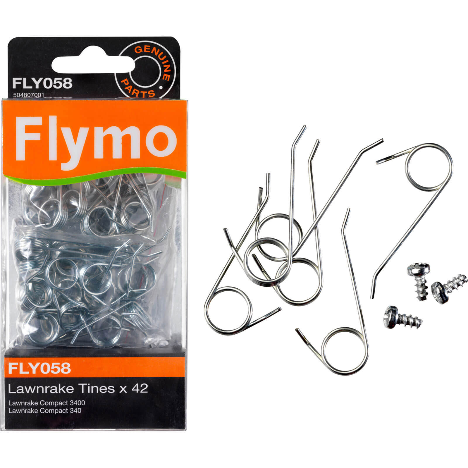 Flymo FLY058 Genuine Tines for Lawnrake Compact 3400  340  350 Pack of 42
