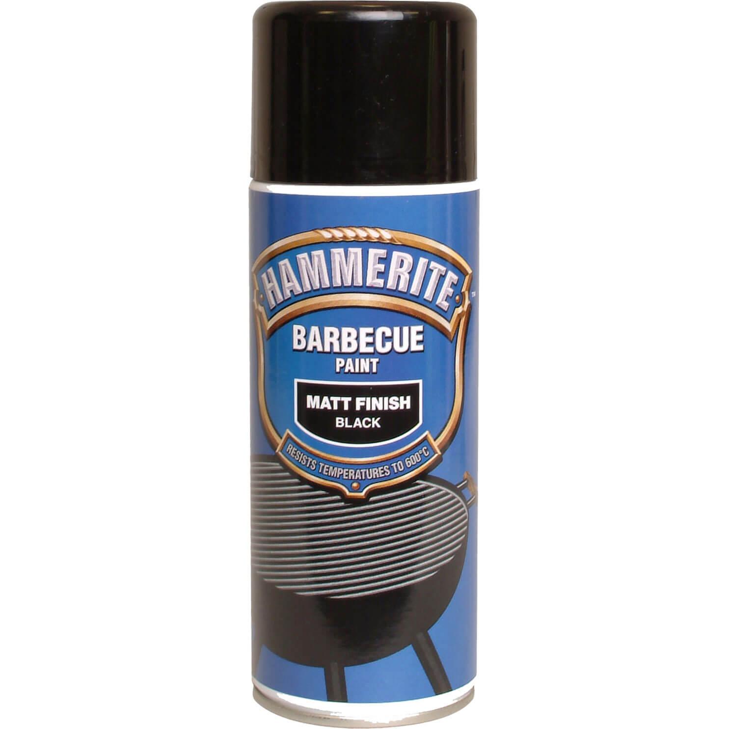 Image of Hammerite Aerosol BBQ Paint Black Matt 400ml