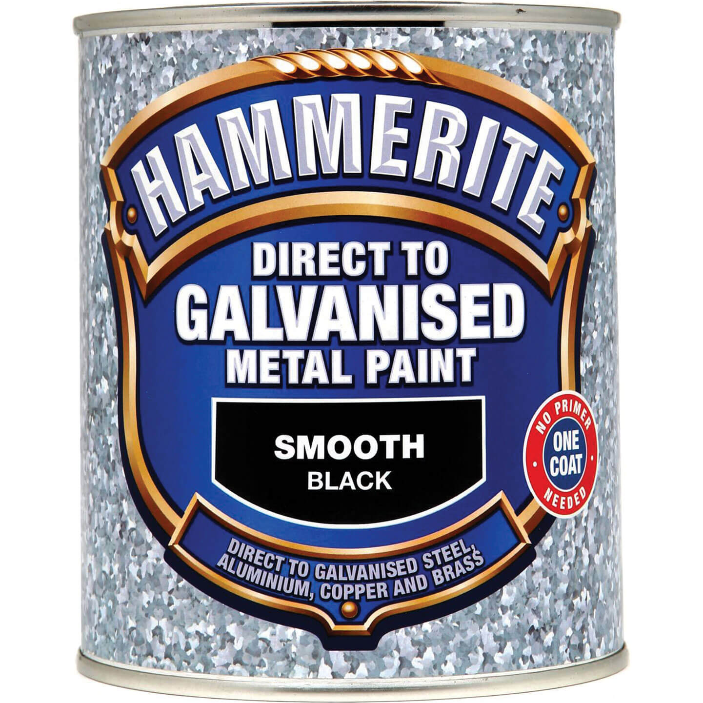 Image of Hammerite Direct to Galvanised Metal Paint Black 750ml