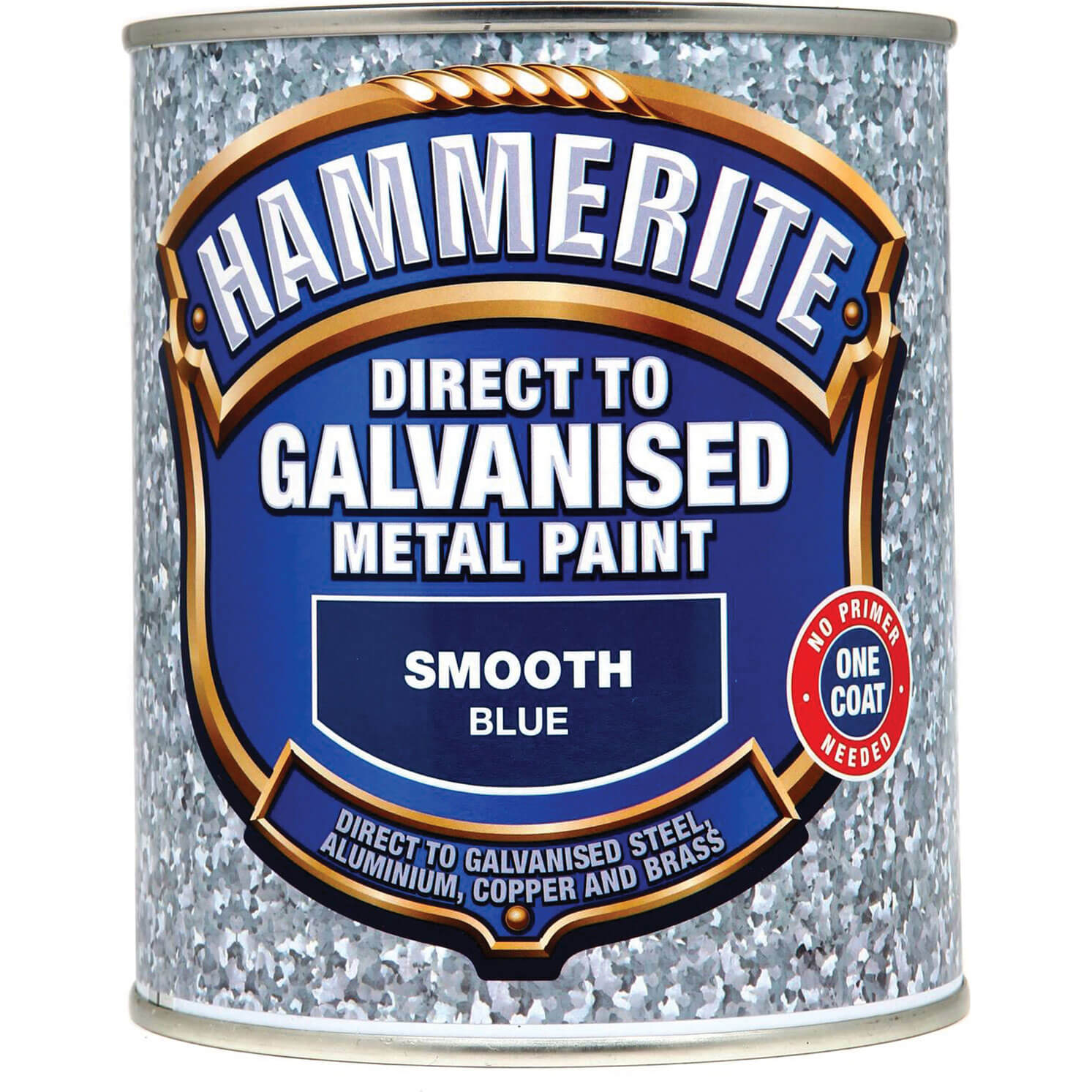 Image of Hammerite Direct to Galvanised Metal Paint Blue 750ml