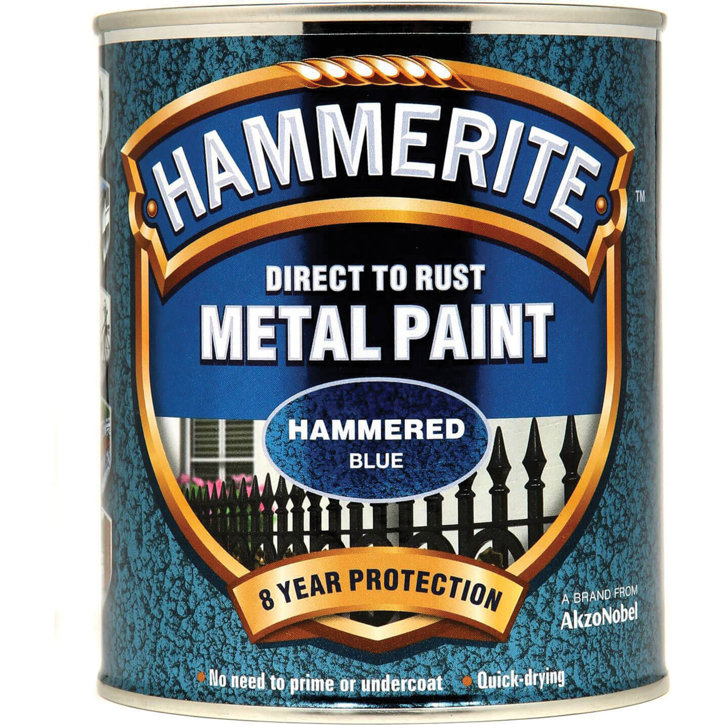Image of Hammerite Hammered Finish Metal Paint Blue 750ml