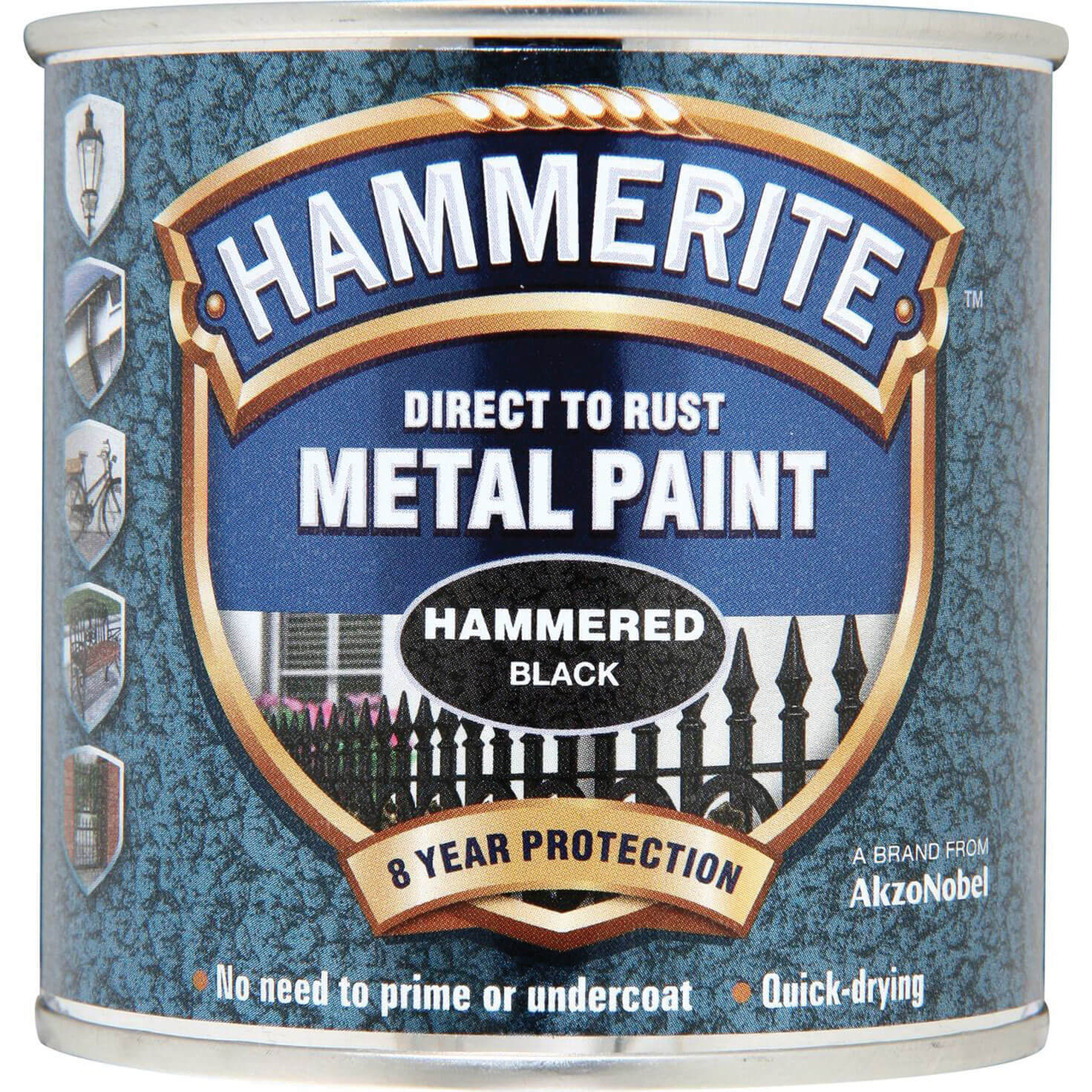 Image of Hammerite Hammered Finish Metal Paint Black 250ml