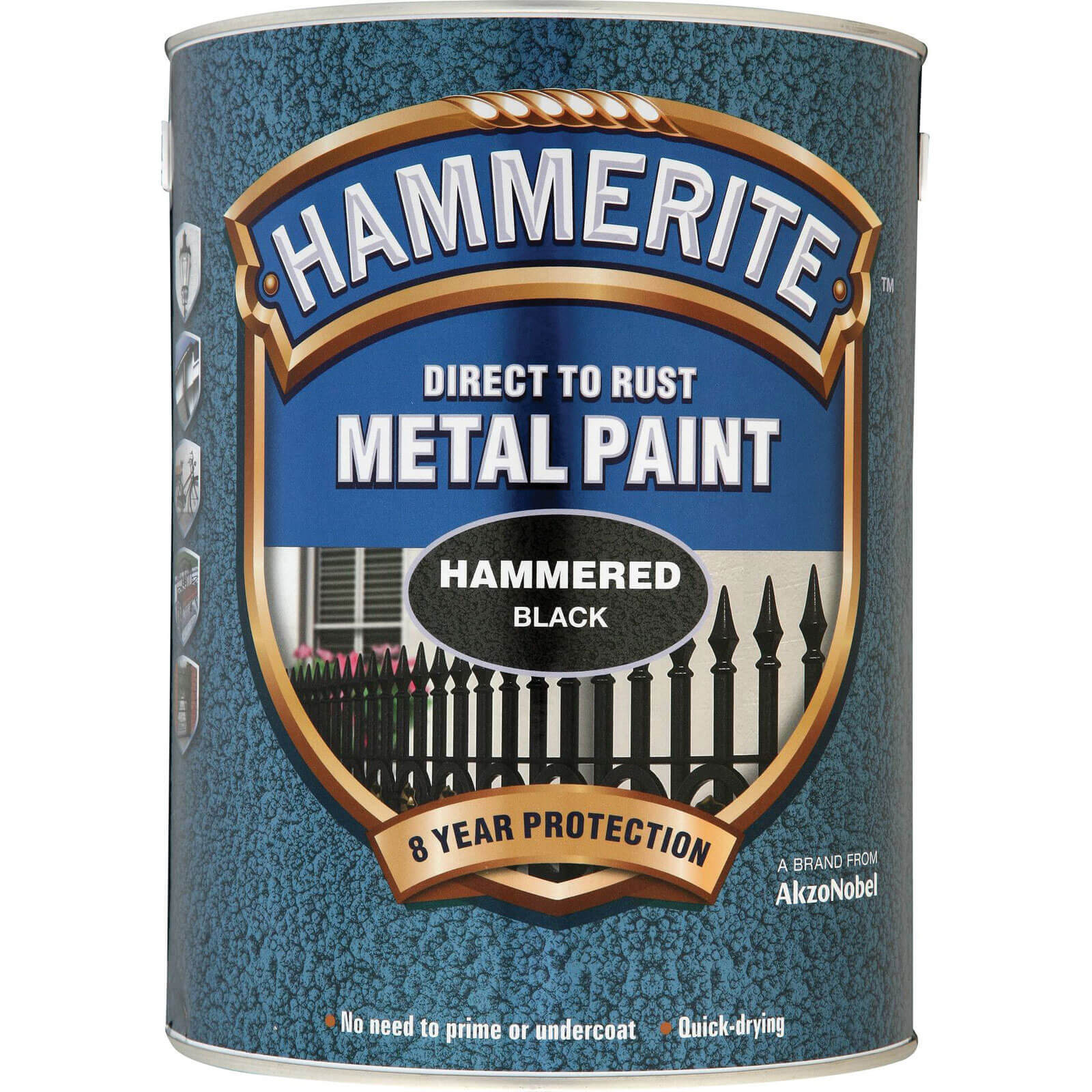 Image of Hammerite Hammered Finish Metal Paint Black 5000ml
